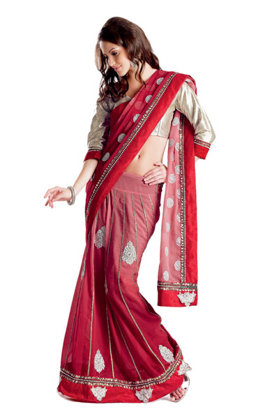 Fancy Indian Designer Embroidered Net Lehenga saree