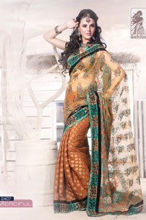 Classic Party Viscose Jacquard Organza Beige  Net Saree
