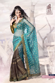 Turquoise Grey Georgette Net Bollywood Sarees