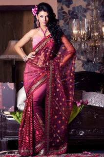 Shaded Brown Pink Georgette Brasso Net Saree.