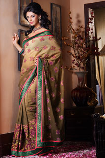 Shadede Olive Georgette Pretty Pastel Floral out work Embroidery.