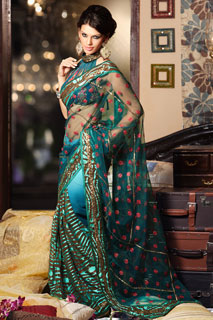 Brown Turquoise Ravishing all over Blouse Net Saree