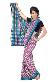 Blue Pink Satin Chiffon Regular Printed Sarees