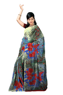 Multi Colouring Floral Print Monsoon Satin  Printed Sarees