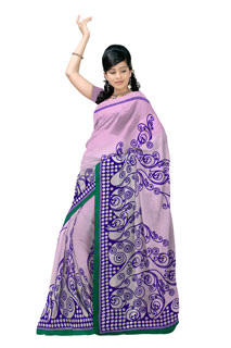 Purpule Georgette Geomatrical  Regular Printed Sarees