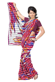 Maroon Red Chiffon Abstract Festival  Printed Sarees