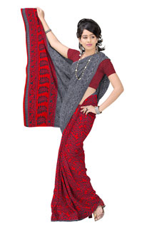 Bright Red Chiffon Geometrical Monsoon Printed Sarees