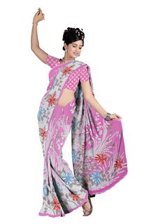 Pink Casual Abstract Floral Print Chiffon Printed Saree