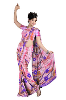 light bright Shades Color Abstract Floral Print Chiffon  Printed Saree