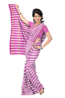 Pink Chiffon Polka dots Geometrical Bollywood  Printed Saree