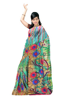 Lovely Multicolouring Chiffon Abstract  Printed Saree