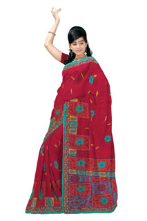 Red  Teal Chiffon Geometrical Maonsoon Printed Sarees