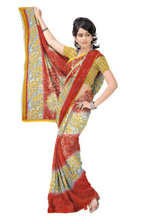 Dusty Yellow Rust Floral Print  Georgette  Printed Saree.