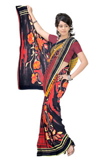 Black Orange Georgette Abstract Floral Printed Saree
