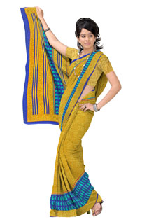 Dusty Yellow Navy Blue Crepe jaquard Geometrical Printed Saree