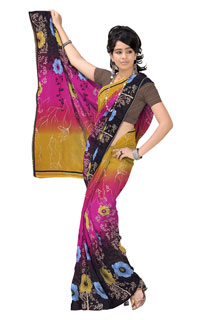 Multicolouring Georgette  Abstract Floral  Printed Saree