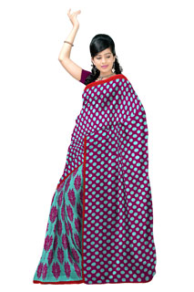 Magenta and Rama Color Chiffon Regular  Printed Saree