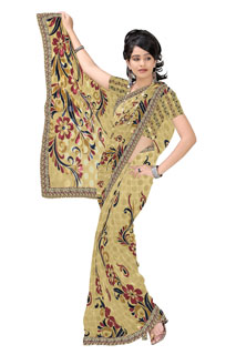 Beige Maroon Crepe Jaquard Abstract Floral Print  Lovely Printed Saree