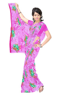Pink Abstract Floral Print Chiffon Printed Saree