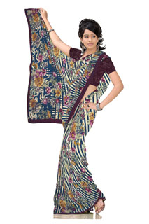 Multicolouring Georgette Monsoon Floral Printed Saree