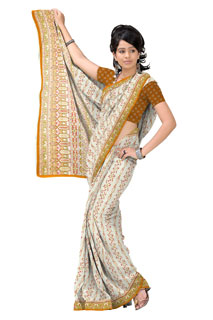 Golden Yellow  White Georgette Floral Printed Saree