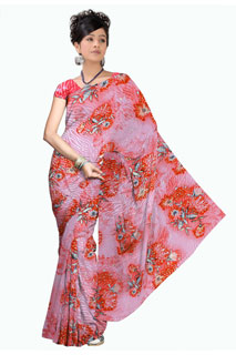 Pink Peach Chiffon Designer Abstract Printed saree