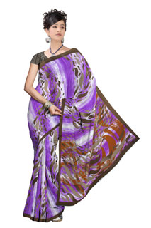 Purple Abstact Print Chiffon Indian Designer  Printed saree