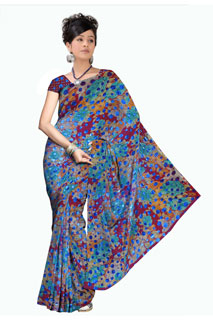 Multicoloring Floral base Georgette Printed Saree.