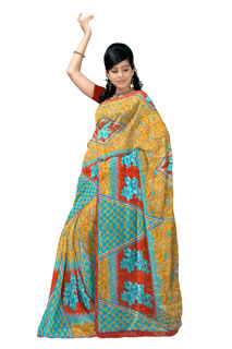 Multicoloring Shade Geometic Chiffon  Printed Saree