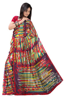 Multicolouring Abstract Print  Chiffon Designer Printed Saree