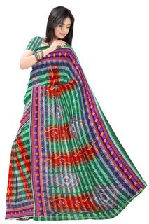 Teal Rust Chiffon bandhni Regular printed saree .