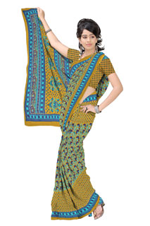 Rama Dusty Yellow  Chifon Traditional Designer Printed Saree