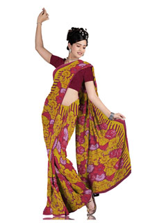 Dusty Yellow Maroom Georgette Festival  abstract Printed saree
