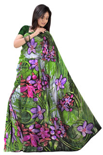 Green Lavender Abstract Floral Chiffon  Printed Saree