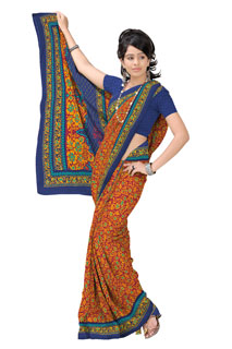 Yello Orange Combination Georgette Designer Floral  Printed Saree