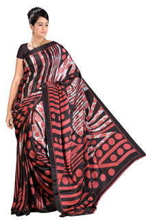 Designer Black Georgette Regular Polka Dots Printed saree
