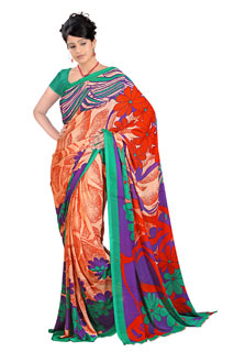 Party Wear Orange and Red Floral based Exclusive Printed saree