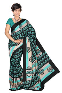 Bollywood Georgette Black and Blue Yellow Printed saree