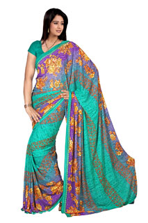 Abstract Blue and Violate Nice Look Floral Print Printed Saree