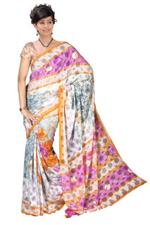 Georgette Cream and Pink Color Floral Bhandhni Printed Silk  saree