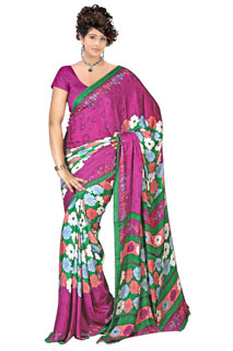 Indian bollywood Magenta Floral Print Printed sarees