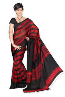 Bollywood Wear  Red Black Chiffon Abstract Printed Saree