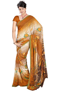 Indian Festival Brown Chiffon AbstractPrint  Printed Saree