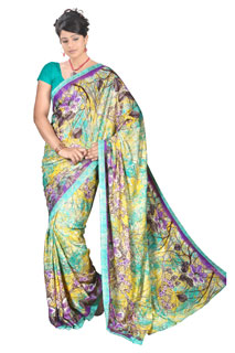 Violete Yellow Silky Georgette Abstract Print Printed Saree
