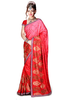 Angry bird R Havy Embroidery Jaquard Fabric Saree