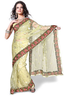 Space C Beautiful Fancy embroidery Net Party wear Exclusive saree