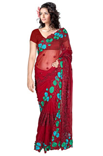 BEBO-R contrast colorful Georgette Designer embroidered Saree.