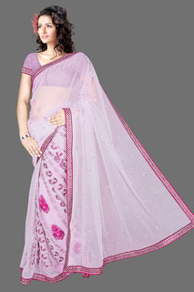 GOOGLE M  Heavy embroidered work Net Designer Fancy Saree