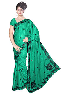 Love-G Heavy embroidered crepe jaquared Fancy Saree