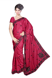 LOVE_M embroidered Sequins work Crepe Jaquard Festival saree